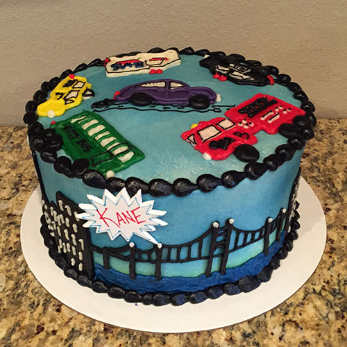 Cityscape cake front