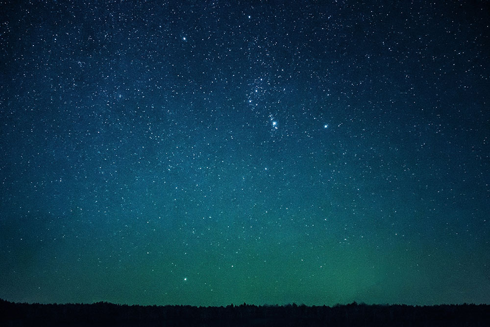 green tinted night sky